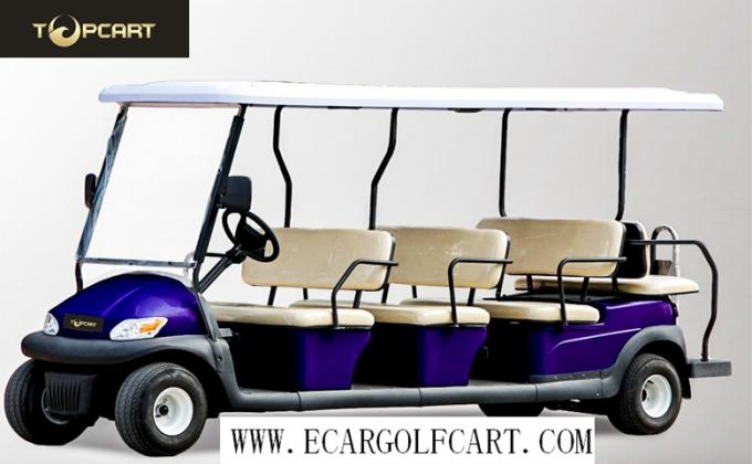 Yellow 12 Passenger Golf Cart , Electric Shuttle Bus For Tourist Resort