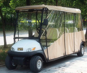 6 Seater Electric Golf Cart Parts And Accessories / Deluxe Brown Golf Cart Enclosures