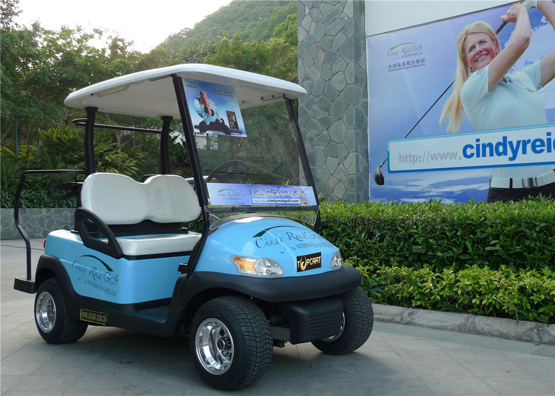 Blue Color Flexible 2 Seater Golf Cart Car With Curtis 275A Controller