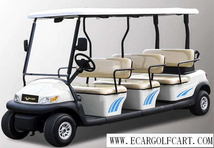 Customized Colorful 12 Seater Golf Cart Electric Sightseeing Bus With Plastic Armrest