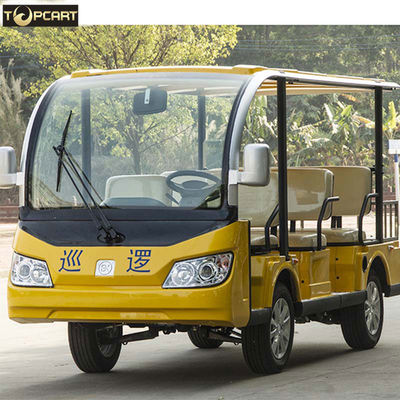 Yellow Color Tourist 8 Seater Golf Buggy Bus With 5.1m Min Turning Radius