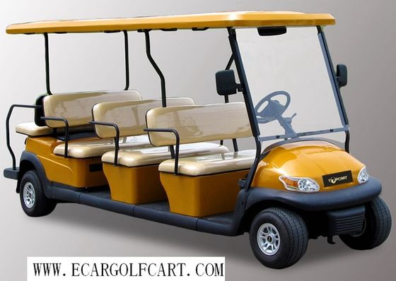 China Yellow 12 Passenger Golf Cart , Electric Shuttle Bus For Tourist Resort distributor