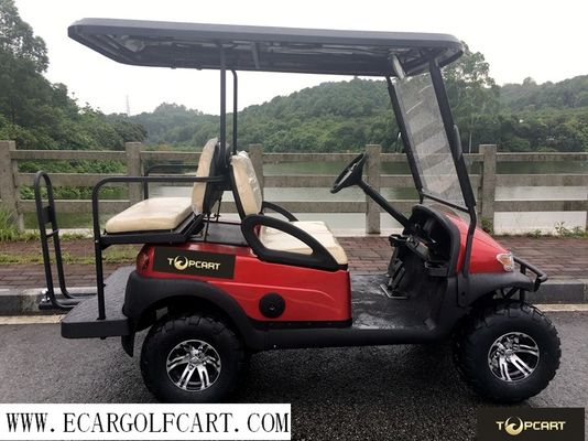 Red 4 Seater Golf Buggy , Off Road Electric Golf Cart With Steel Front Bumper