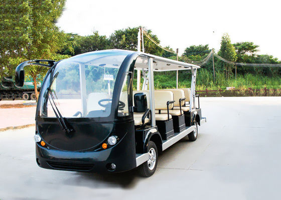 China Black 14 Person Electric Sightseeing Bus 7.5KM Motor 72V Electric Sightseeing Car distributor