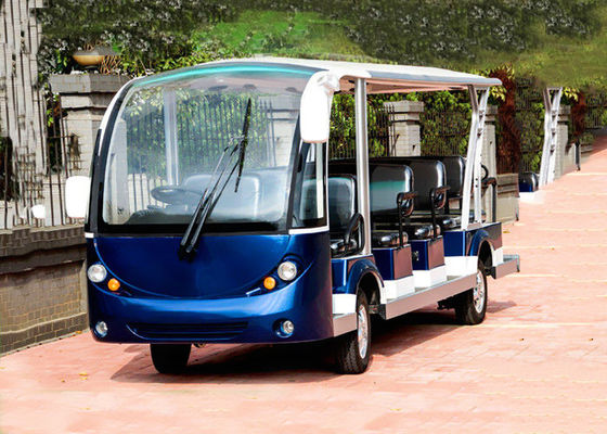China Blue Electric Sightseeing Bus Trojan Battery Powered Electric Tour Bus distributor