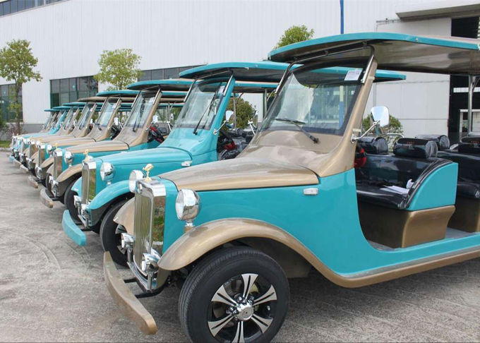 4 Seater Battery Powered Classic Car Golf Carts Champagne Color , 80-100 Km Driving Mileage