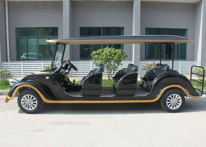 Black Classic Electric Cars , Sightseeing 8 Seater Club Car Electric Golf Cart
